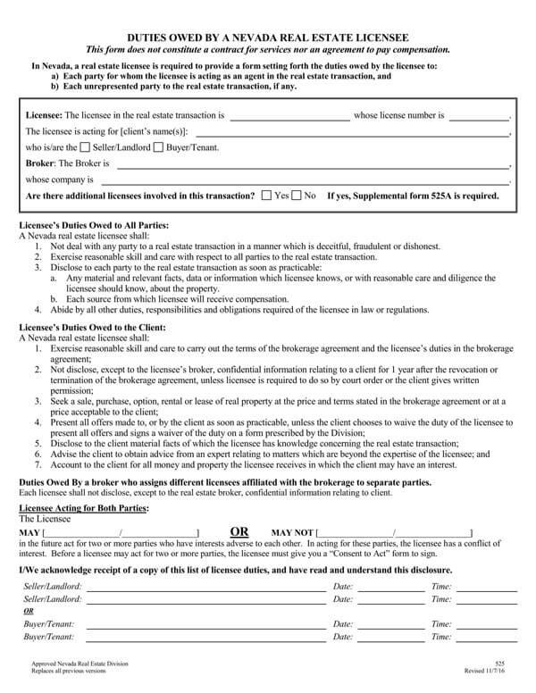 Nevada-Agency-Disclosure-Form