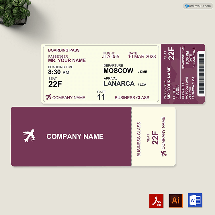 Travel Ticket Template Free