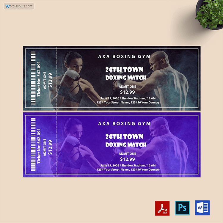 Boxing Ticket Template Free