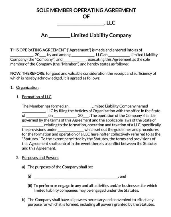 Single-Member-LLC-Operating-Agreement-Template