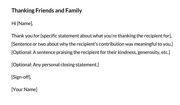 Thanking Friends and Family Template