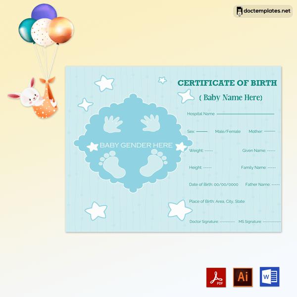 Free Editable Birth Certificate Sample