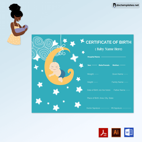 Free Baby Boy Birth Certificate Template