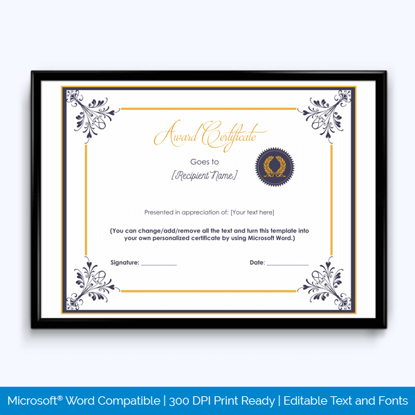 Free Editable Completion Award Certificate