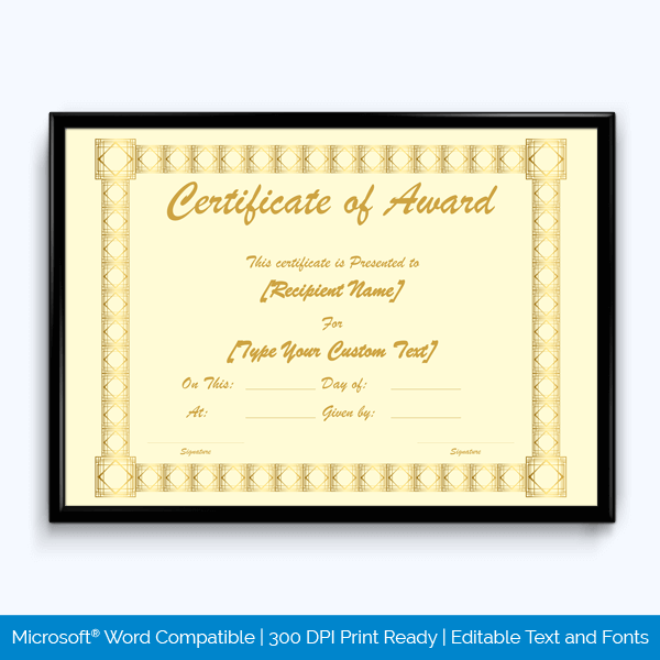 Completion Award Certificate