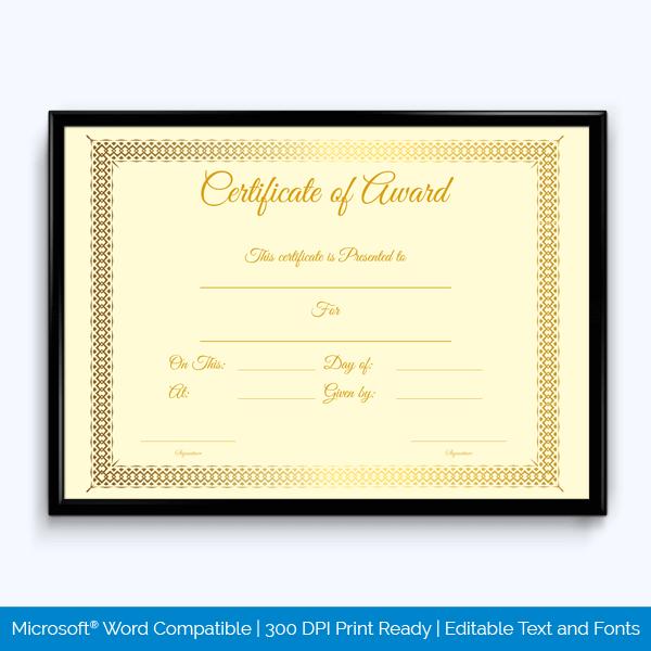 Achievement Award Certificate