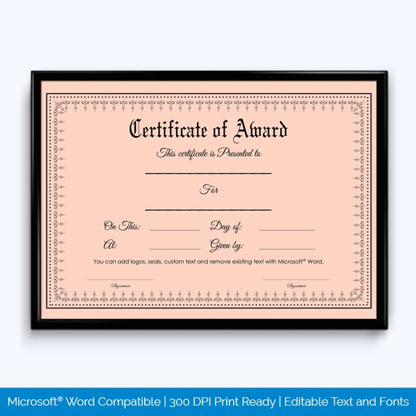 Award Certificate Editable