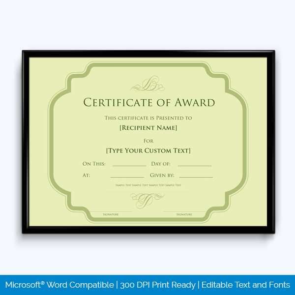 Award Certificate Free Editable