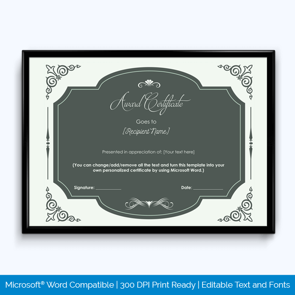 Award Certificate of Recognition