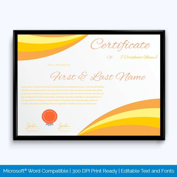 Award Certificate Sample