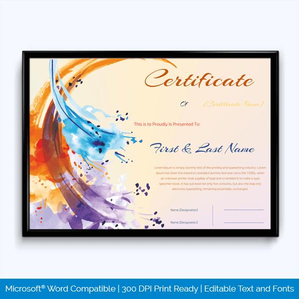 Musical Achievement Award Certificate