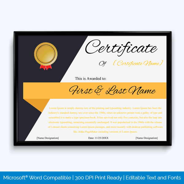 Free Sample of Award Certificate