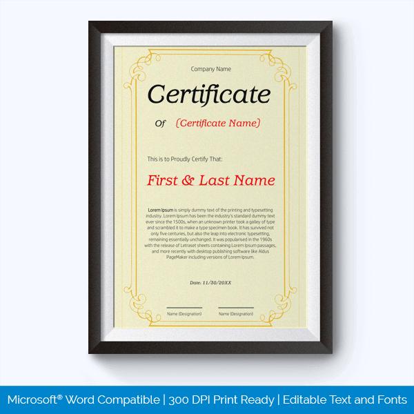 Award Of Honor Sample