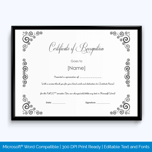 Completion Award Certificate Free