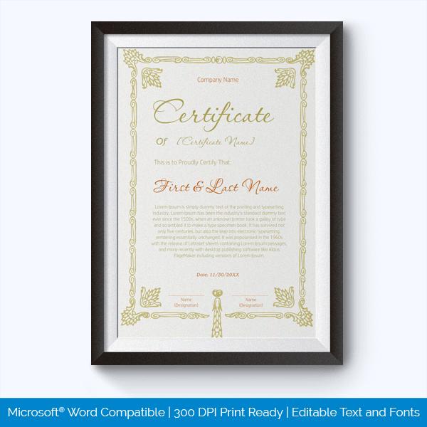 Free Academic Award Certificate