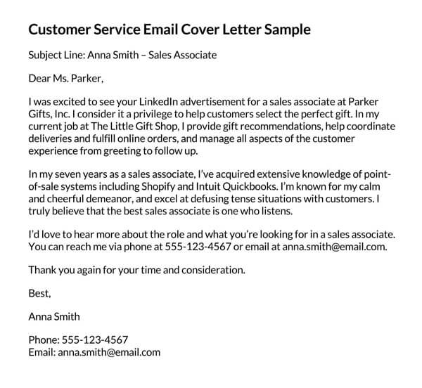 Customer-Service-Email-Cover-Letter-Sample
