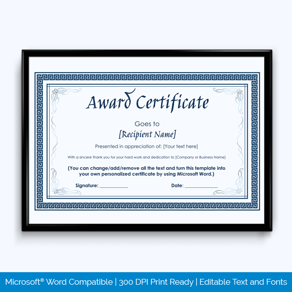 Years of Service Award Certificate Free