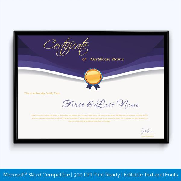 Good Work Award Certificate Sample