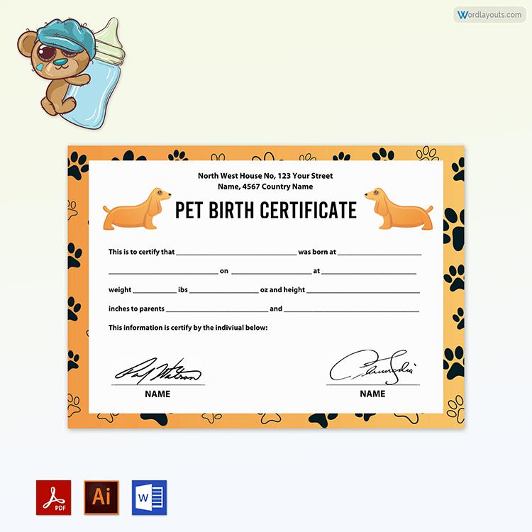 Free Pet Birth Certificate