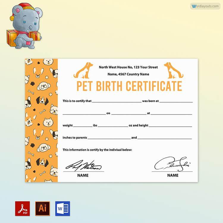 Pet Birth Certificate Sample