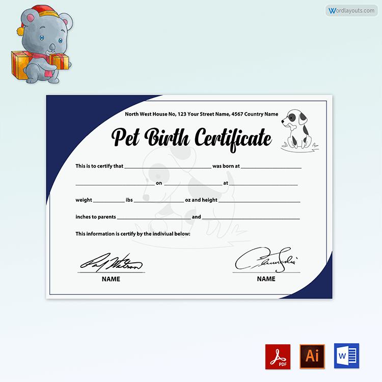 Pet Birth Certificate Doc Format