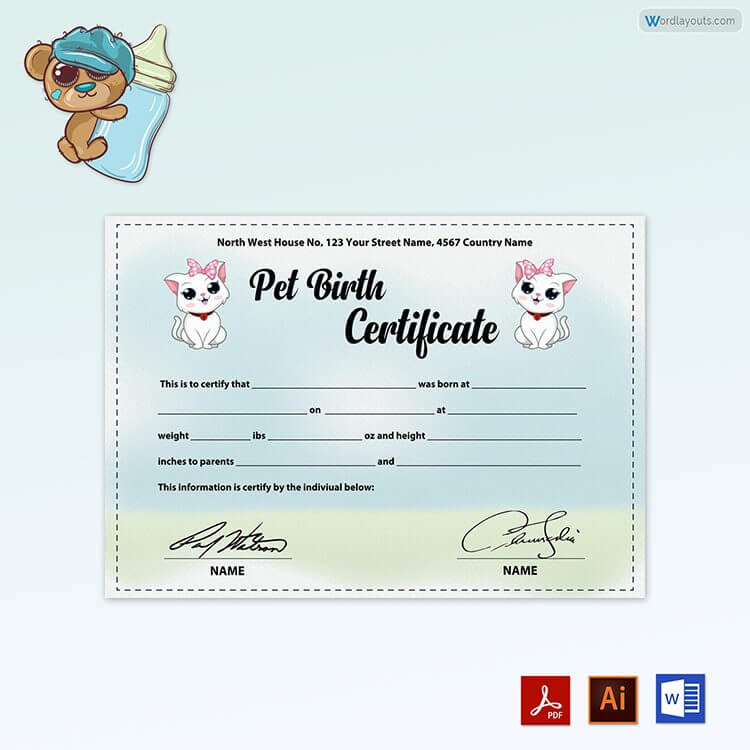 Free Printable Pet Birth Certificate