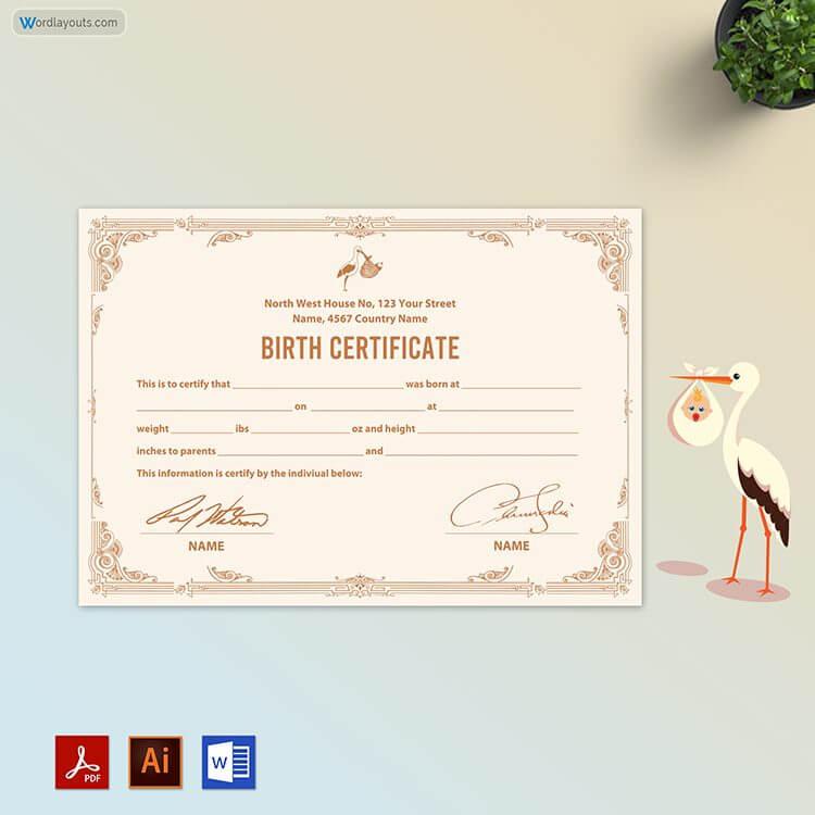 Free Editable Baby Birth Certificate