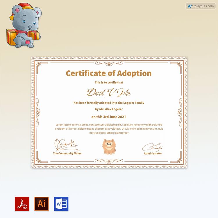 Pet Adoption Certificate Sample