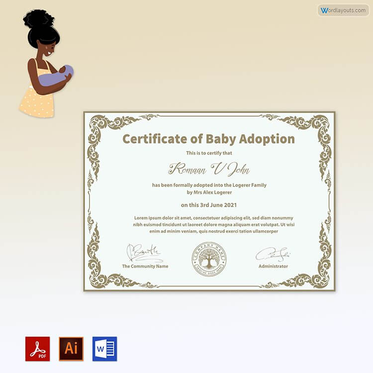 Free Baby Adoption Certificate Format
