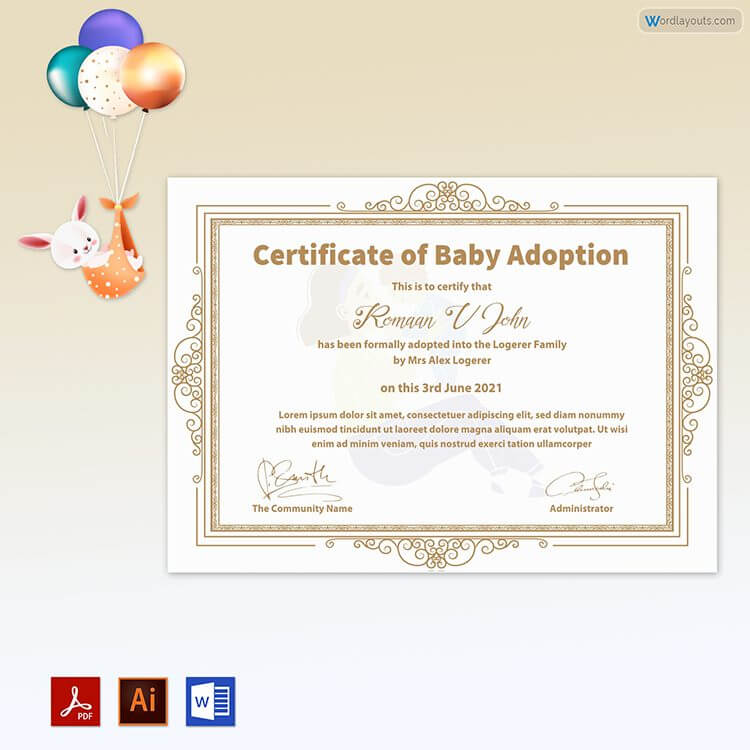 baby adoption certificate
