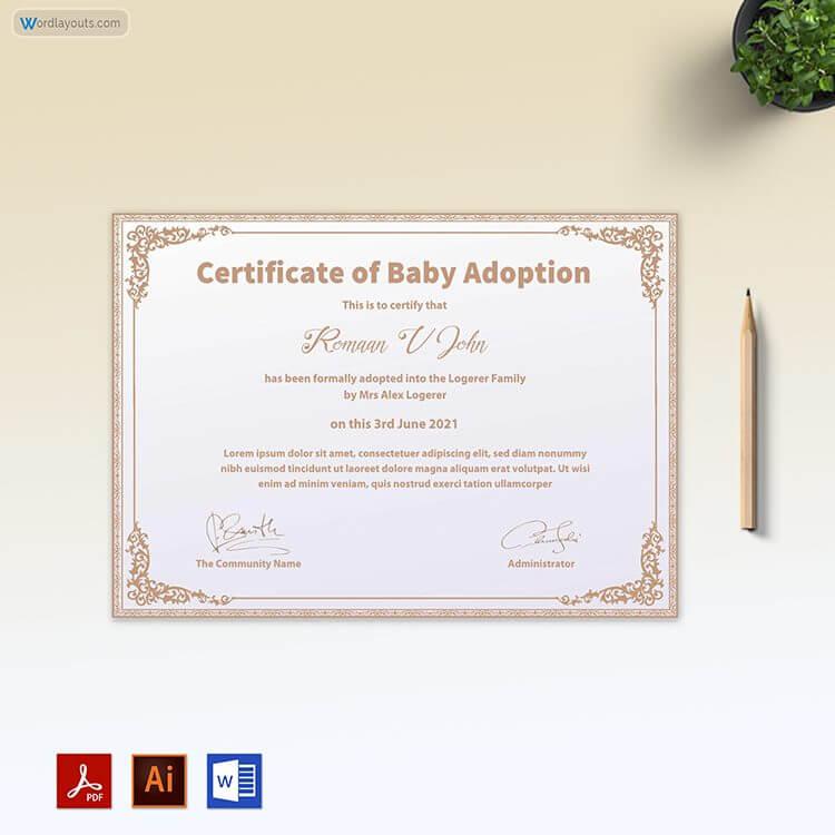 Free Certificate of Baby Adoption Sample