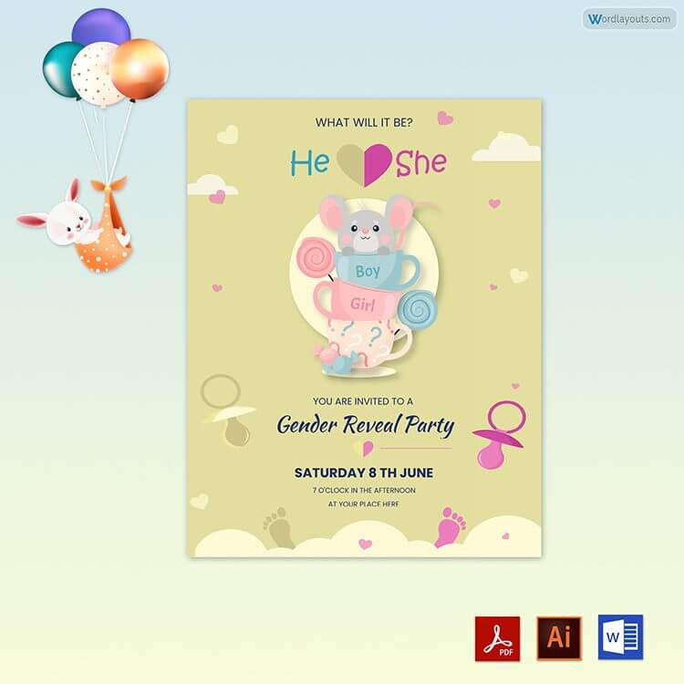 Gender Reveal Party Invitation Free