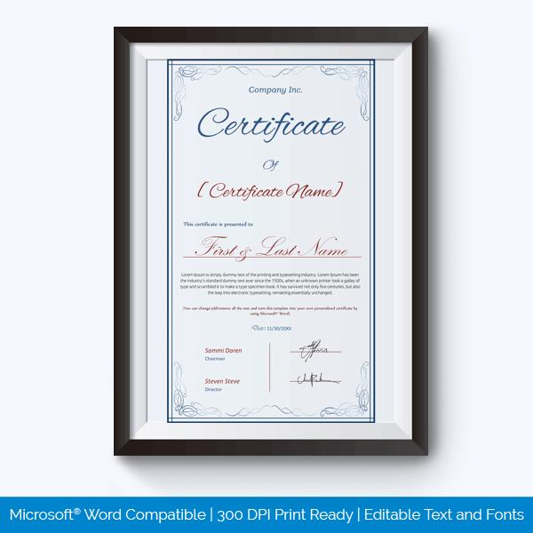 Honor Award Certificate Sample