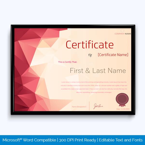Good Behavior Award Certificate Sample