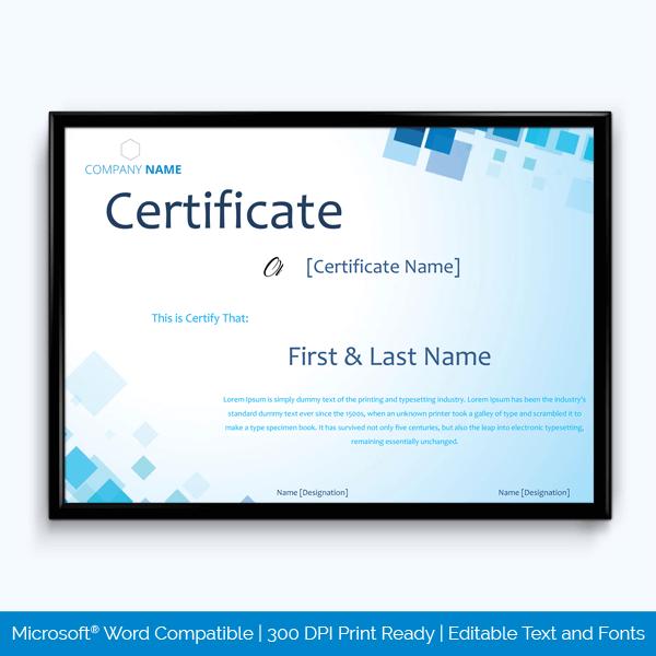 Volunteer Work Award Certificate