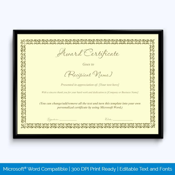 Retirement Award Certificate Sample