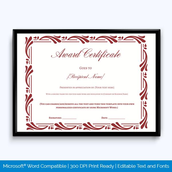 years service award certificate sample