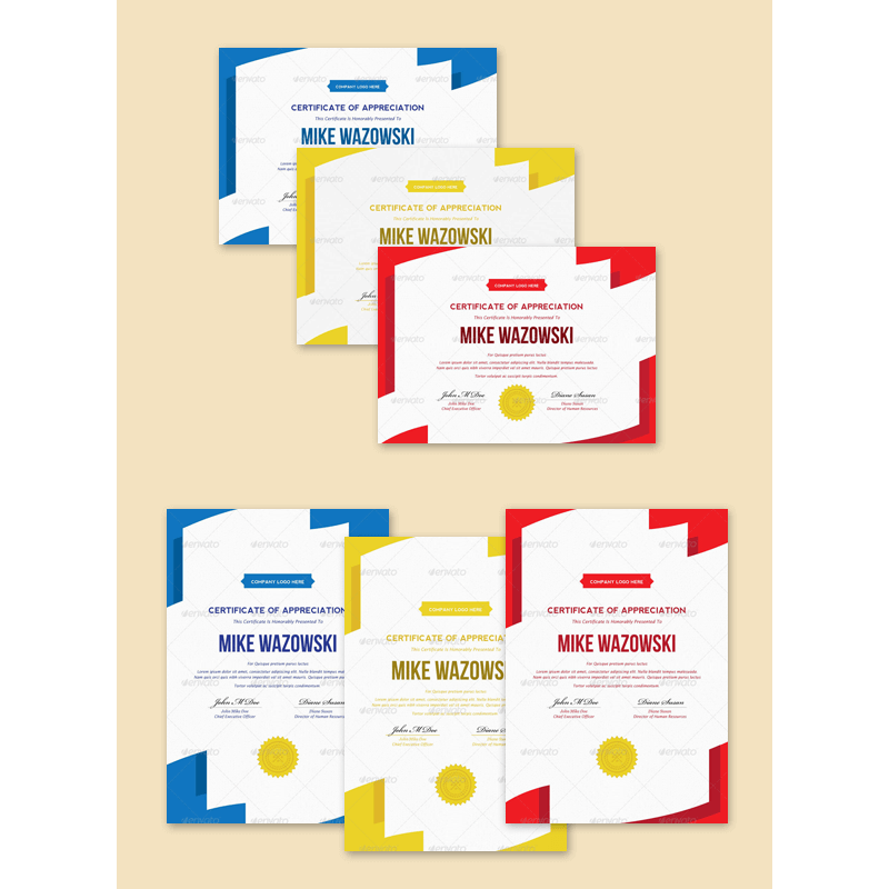 6-in-1 Modren Award Certificate Templates