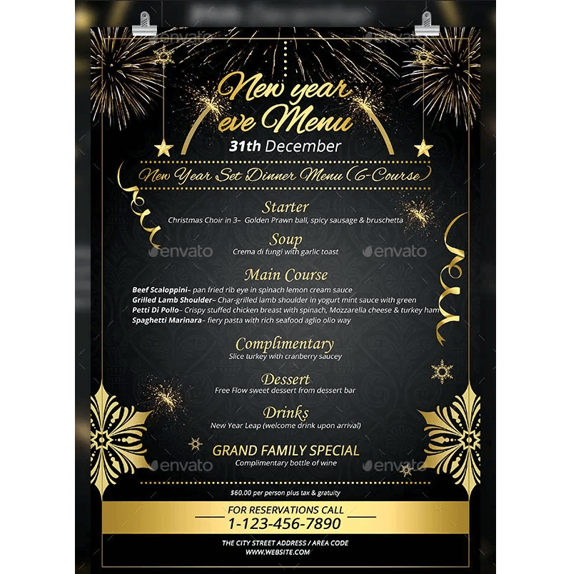 New Year Menu Template 03