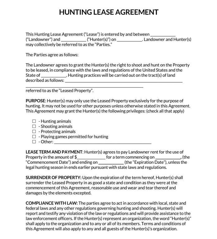 Hunting Lease Agreement Template