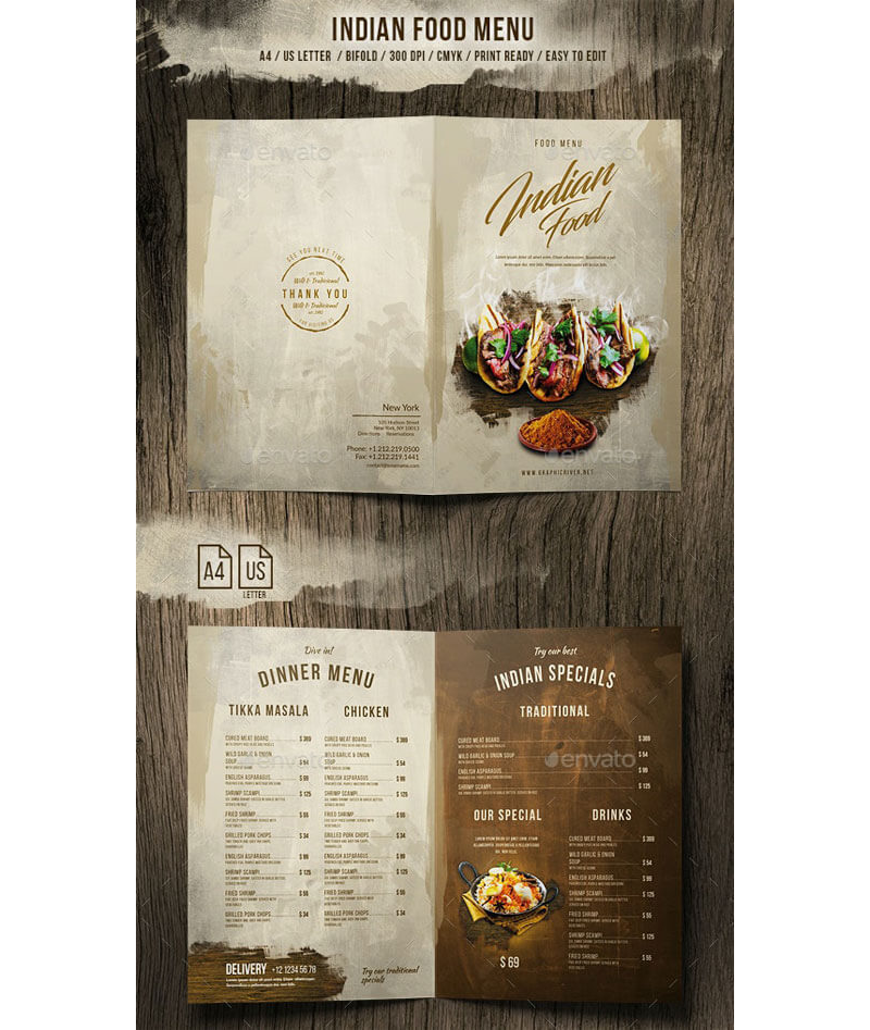 Indian Style Restaurant Menu 11