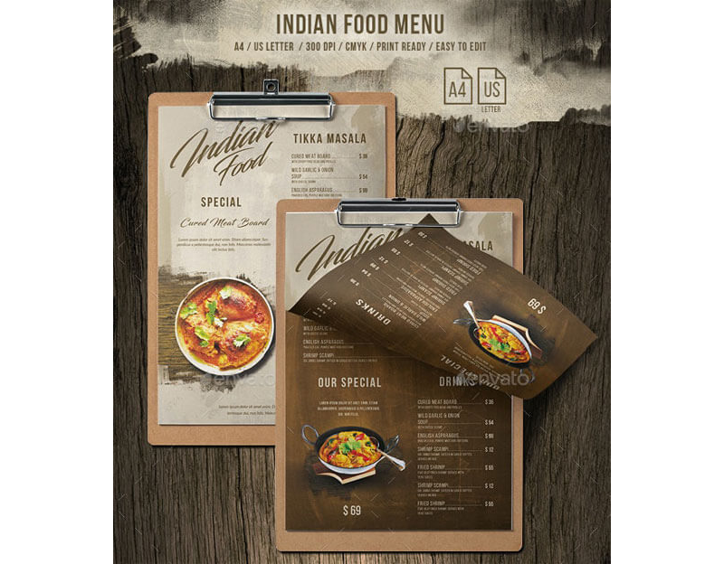 Indian Style Restaurant Menu 13