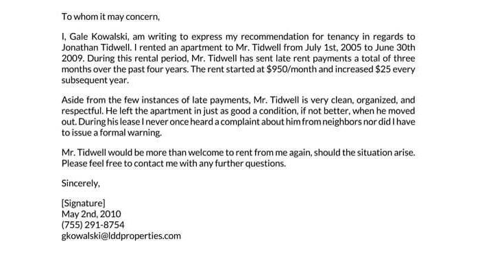 Landowner Recommendation Letter Sample 01