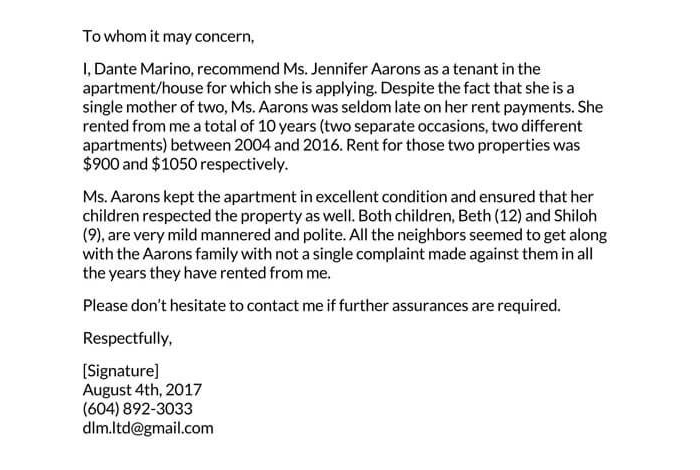 Landowner Recommendation Letter Sample 03