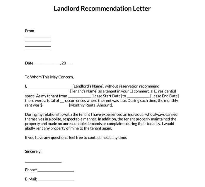 Landowner Recommendation Letter Sample 04