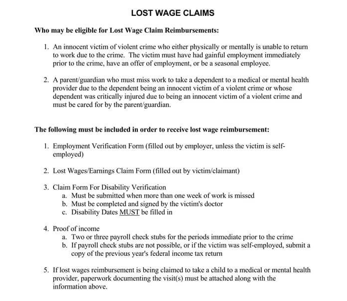 Lost Wage Verification Form
