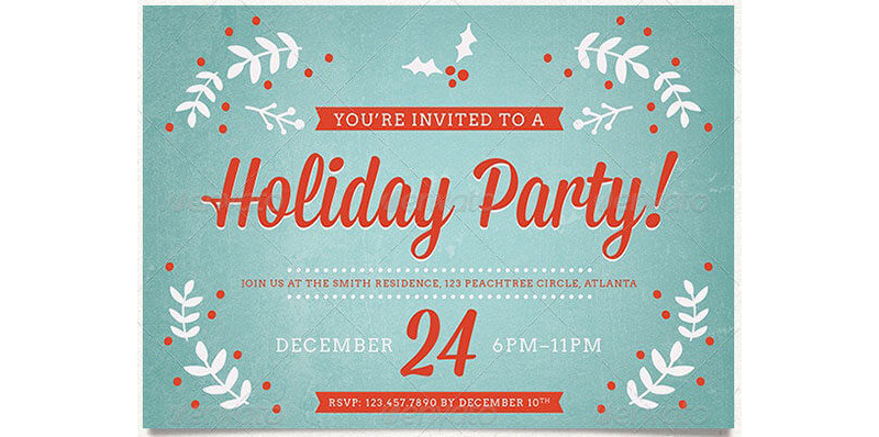 Holiday Party Invitation Template 02