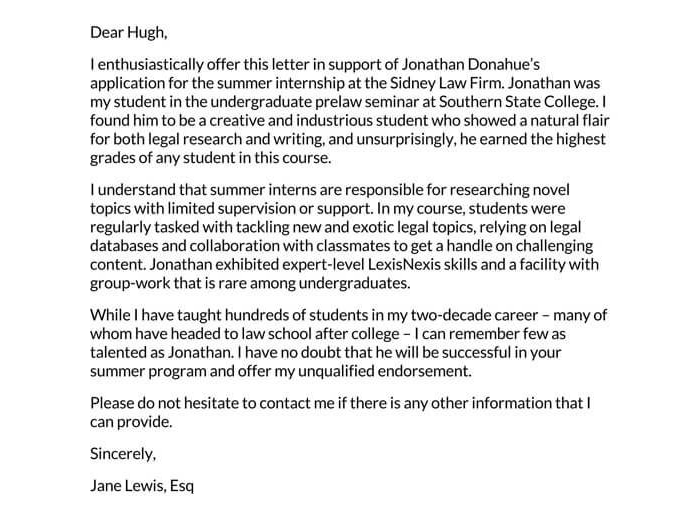 Recommendation Letter for Internship 02