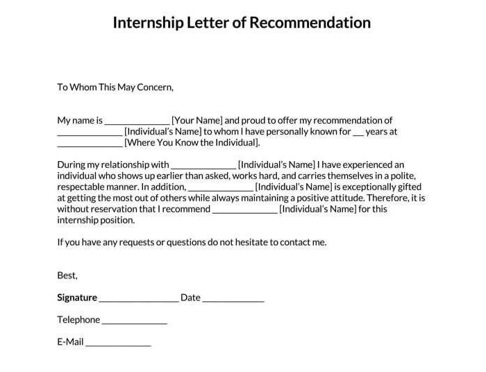 Recommendation Letter for Internship 04
