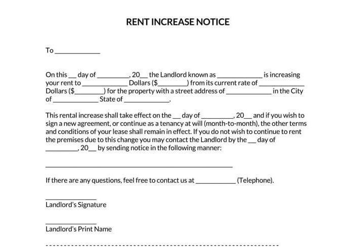 Rent Increase Notice 15